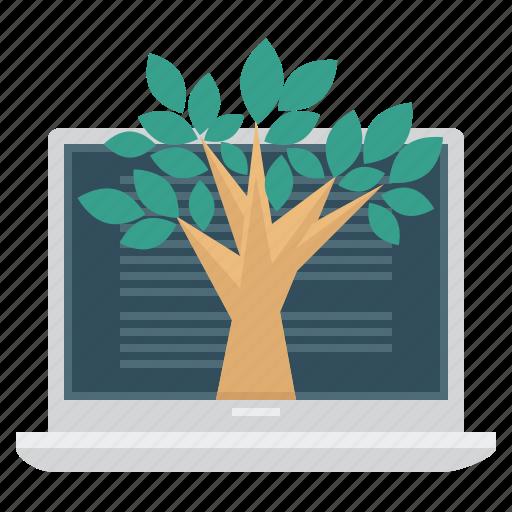 education, laptop, science, tree icon
