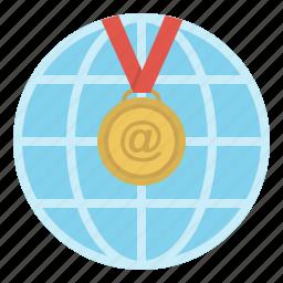 education, electronic, internet, medal, reward, science icon