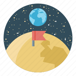 earth, flag, moon, science, space, stars icon