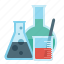 flask, science, chemistry, education, test tubes icon