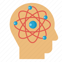 atoms, education, head, science, think icon