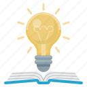 book, education, idea, lightbulb, science icon
