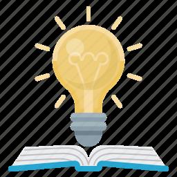 book, education, idea, lightbulb, science icon