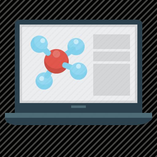 chemistry, education, laptop, molecule, science icon