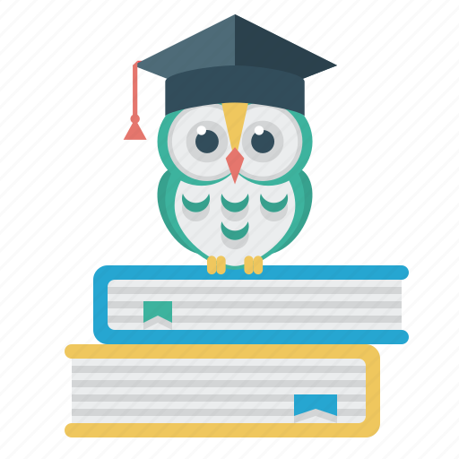 books, education, owl, science, student's cap icon