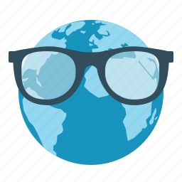 earth, education, glasses, science, smart icon