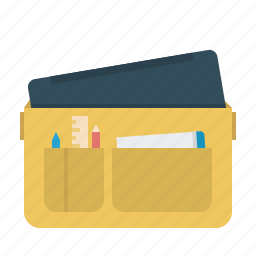 bag, education, laptop, notebook, pencil, ruler, student icon