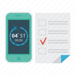 education, science, smartphone, test, testing, timer icon