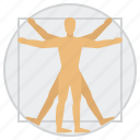 education, man, science, vitruvian icon