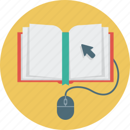 book, cursor, education, mouse, science icon