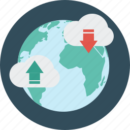 distance, download, education, internet, learning, science, upload icon