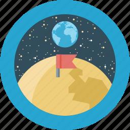 education, flag, moon, stars icon