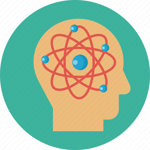 atoms, education, head, knowledge, science, thinking icon
