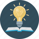 book, bulb, education, idea, light, science icon