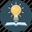 education, idea, science, book, bulb, light
