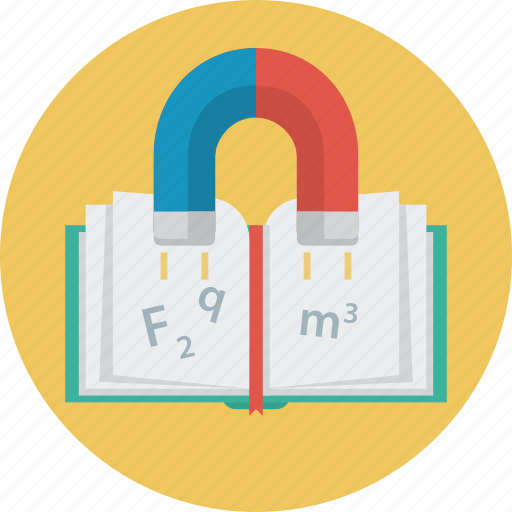 book, education, formula, magnet, science icon
