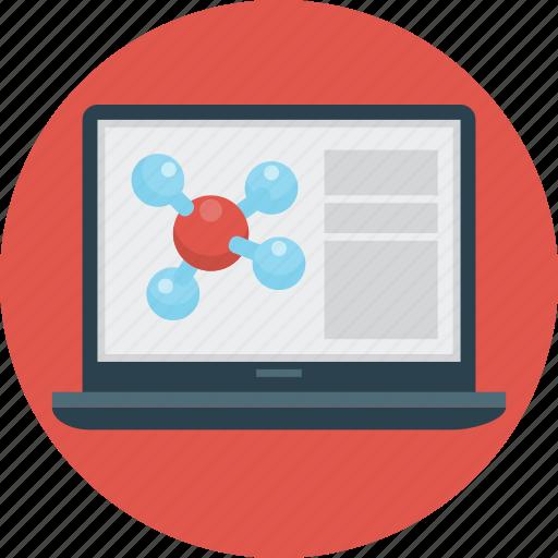education, laptop, molecule, science icon