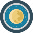 education, moon, science, space, stars, telescope icon