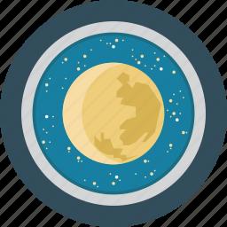 education, moon, science, space, stars, telescope icon