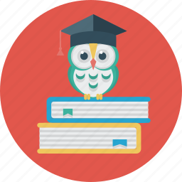 books, education, hat, owl, science, student icon