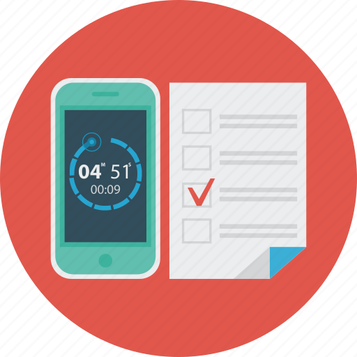 education, science, smartfone, test, timer icon