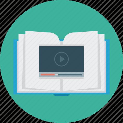 book, education, media, science, video icon