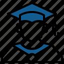 account, avatar, education, graduation, person, profile, user icon