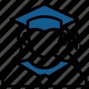 account, avatar, education, graduation, profile, user, woman icon