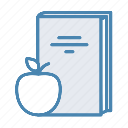 apple, book, break, fruit, lunch, lunch break icon