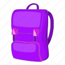 backpack, bag, cartoon, education, object, school, sign icon