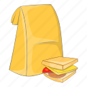 bag, cartoon, food, lunch, sandwich, school, sign icon