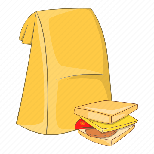 bag, cartoon, food, lunch, sandwich, school, sign icon