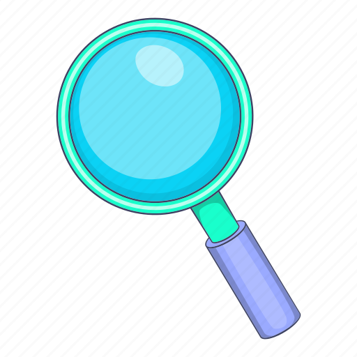 cartoon, glass, magnifying, object, search, sign, tool icon