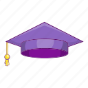 cap, cartoon, graduation, object, purple, school, sign icon