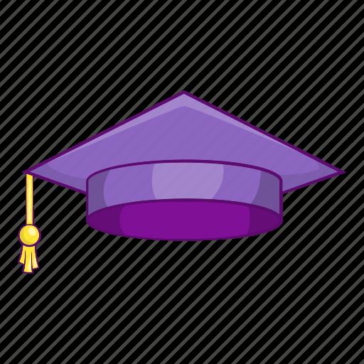 Cap, cartoon, graduation, object, purple, school, sign icon - Download on Iconfinder