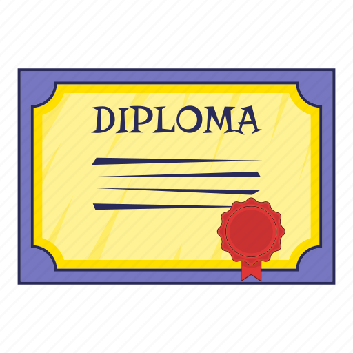 cartoon, certificate, degree, diploma, object, sign icon