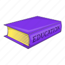 book, cartoon, education, library, object, paper, sign icon
