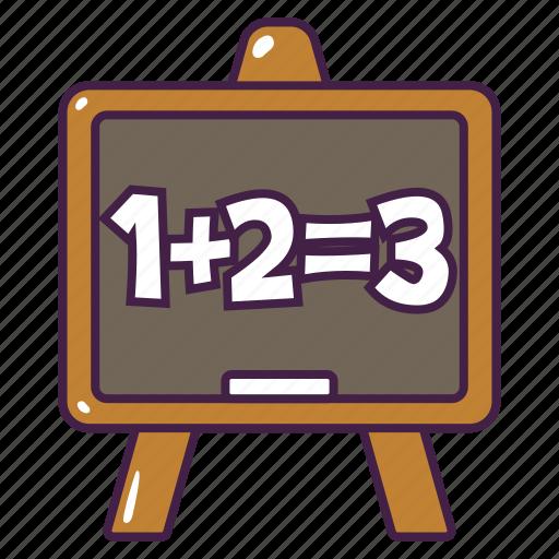 board, chalk, education, lesson, math, write icon