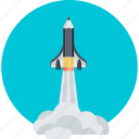 adventure, development, education, explore, flat design, innovation, space shuttle icon