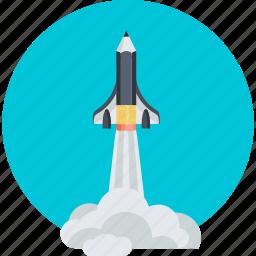adventure, development, education, explore, flat design, innovation, space shuttle icon
