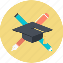 education, flat design, graduate, profession, round, university icon