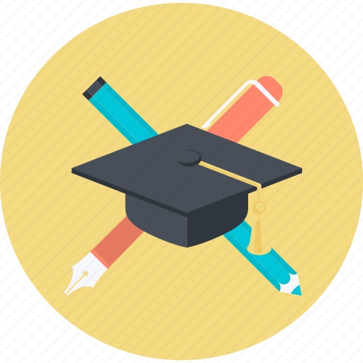 education, flat design, graduate, profession, round, university icon