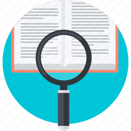 book, education, flat design, how, know, research, search icon