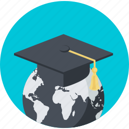 distance, education, flat design, learning, online, round, university icon