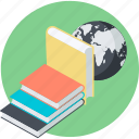 book, distance, education, flat design, knowledge, learning, round icon