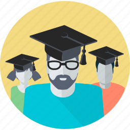 avatar, education, flat design, learning, people, profile, students icon