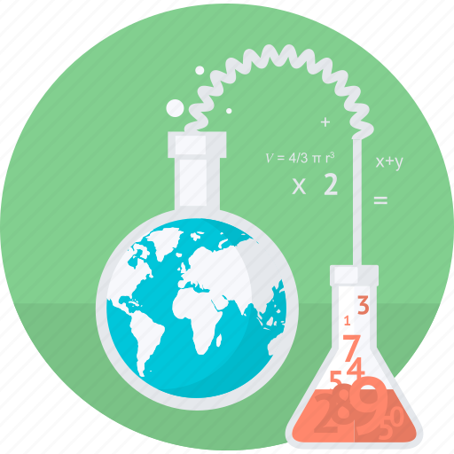 education, flat design, laboratory, research, round, science, test icon