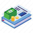 and, books, business, education, fee, isometric, money icon