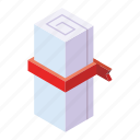 and, business, diploma, education, fee, isometric, money icon