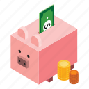 and, business, education, fee, isometric, money, piggy bank, saving icon